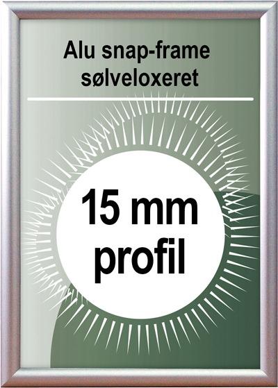 Snapramme - 15mm profil i sølv