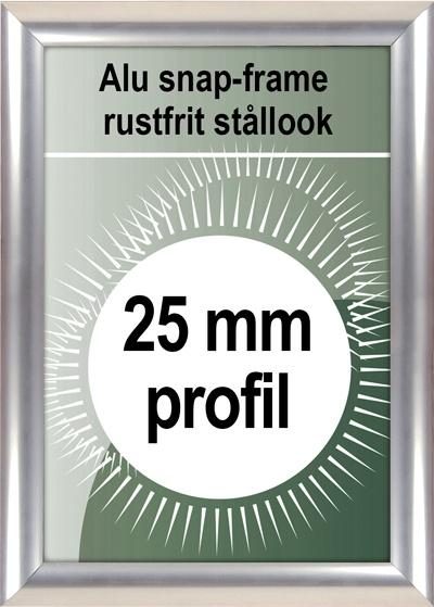 Klikramme - 25mm profil rustfrit stål look