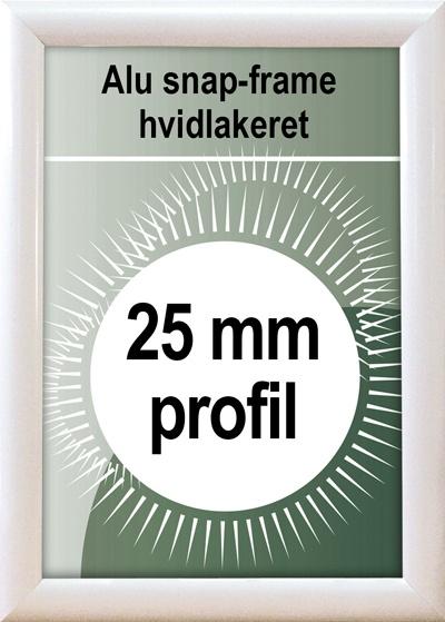 Snapramme - 25mm profil i hvid