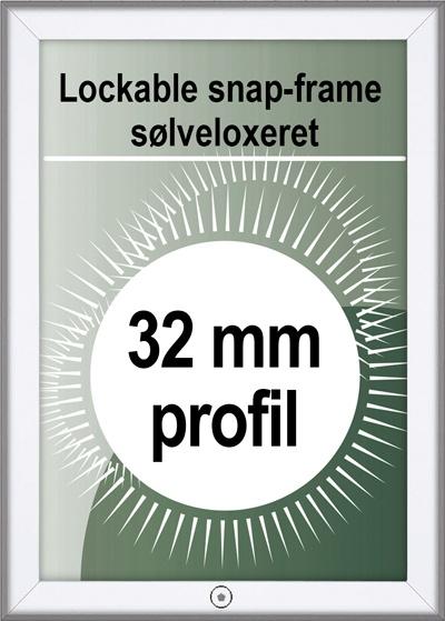Klikramme med lås - 32mm profil i sølv