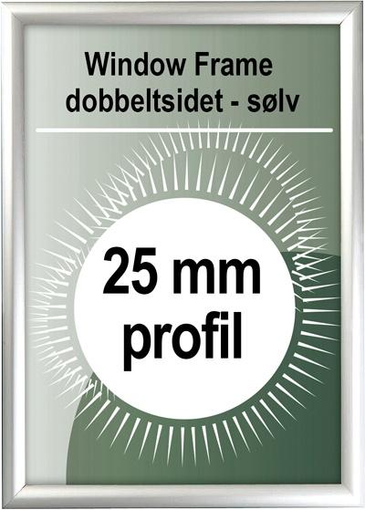 Dobbeltsidet Snapramme - 25mm profil i sølv