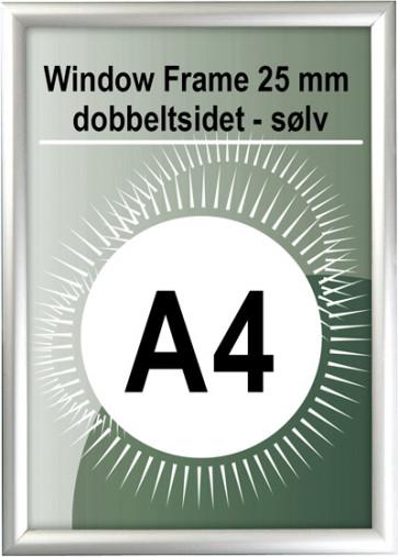 Dobbeltsidet Vindues Snapramme - 25mm Profil - (A4) - 21x29.7cm - Sølv