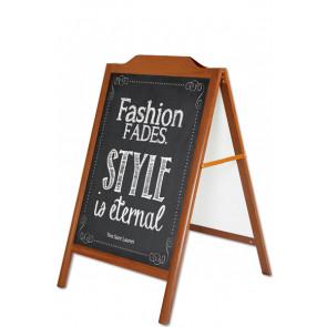 A Skilt blackboard med trælook & dekorativ top