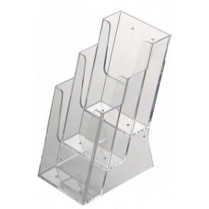 Akryld Brochureholder Til Bord - (3xM65) - 9.9x21cm