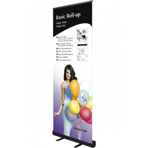 Basic Roll Up Enkeltsidet - 85x220cm Banner - Sort