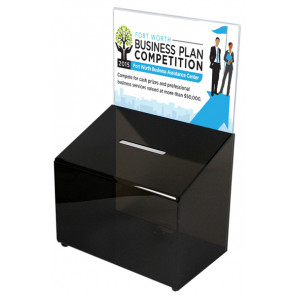 Drikkepenge kasse Med Skilteholder Sort - A6