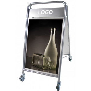 Expo Sign Lux sandwichskilt - med logoplade og hjul - (A1) 59.4x84.1cm - sølv