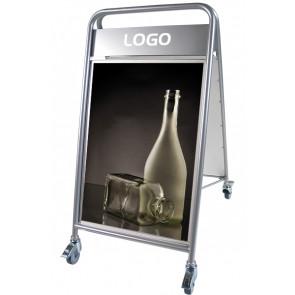 Expo Sign Lux sandwichskilt - med logoplade og hjul - (B2) 50x70cm - sølv