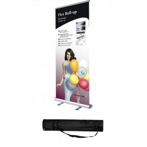 Flex Roll Up Enkeltsidet - 100x107-237cm Banner - Inkl. Taske - Sølv