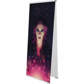 Quick Banner Stand - Dobbeltsidet - 80x200cm - Sølv