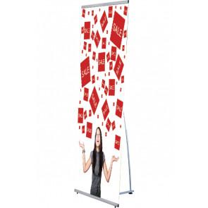 Quick L Banner Stand - enkeltsidet - 60x200cm - Sølv