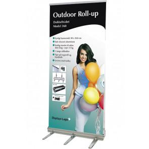 Udendørs Roll Up Dobbeltsidet - 80x180cm Banner - Sølv