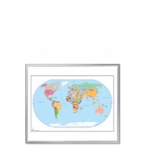 Whiteboard tavle med verdenskort - 123x103cm