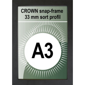Crown Snapramme - 33mm Profil - (A3) 29.7x42cm - Sort