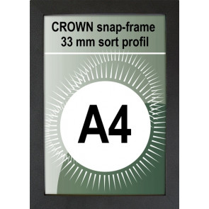 Crown Snapramme - 33mm Profil - (A4) 21x29.7cm - Sort