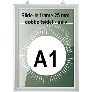 Dobbeltsidet slide-In Ramme - 25mm Profil - (A1) - 59.4x84.1cm - Vertikal