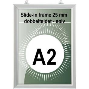 Dobbeltsidet slide-In Ramme - 25mm Profil - (A2) - 42x59.4cm - Vertikal