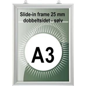 Dobbeltsidet slide-In Ramme - 25mm Profil - (A3) - 29.7x42cm - Vertikal