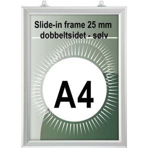 Dobbeltsidet slide-In Ramme - 25mm Profil - (A4) - 21x29.7cm - Vertikal