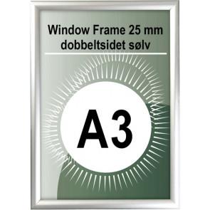 Dobbeltsidet Vindues Snapramme - 25mm Profil - (A3) - 29.7x42cm - Sølv
