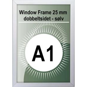 Dobbeltsidet Vindues Snapramme - 32mm Profil - (A1) - 59.4x84.1cm - Sølv