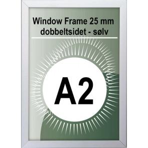 Dobbeltsidet Vindues Snapramme - 32mm Profil - (A2) - 42x59.4cm - Sølv