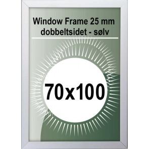 Dobbeltsidet Vindues Snapramme - 32mm Profil - (B2) - 70x100cm - Sølv