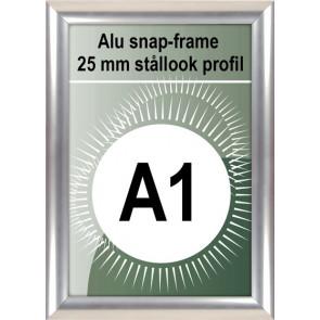 Klikramme - 25mm Profil - (A1) 59.4x84.1cm - Rustfrit Stål look