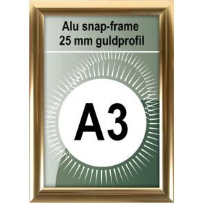 Klikramme - 25mm Profil - (A3) 29.7x42cm - Blank Guld