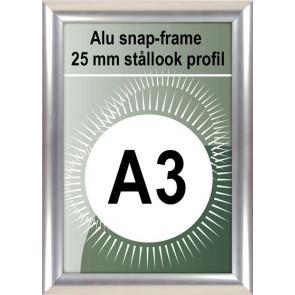 Klikramme - 25mm Profil - (A3) 29.7x42cm - Rustfrit Stål look