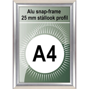 Klikramme - 25mm Profil - (A4) 21x29.7cm - Rustfrit Stål look