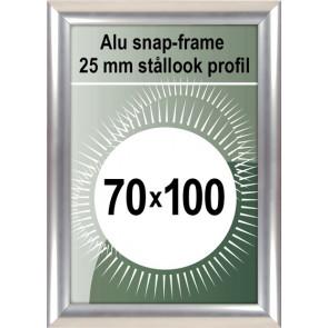Klikramme - 25mm Profil - (B1) 70x100cm - Rustfrit Stål look