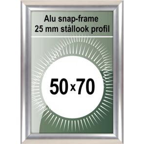 Klikramme - 25mm Profil - (B2) 50x70cm - Rustfrit Stål look