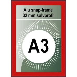 Klikramme - 32mm Profil - (A3) 29.7x42cm - Rød