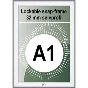 Klikramme Med Lås - 32mm Profil - (A1) 59.4x84.1cm - Alu