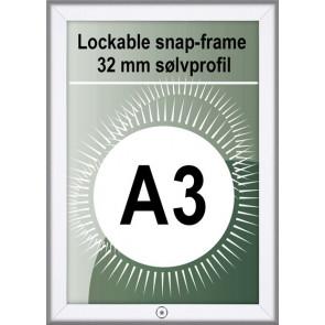 Klikramme Med Lås - 32mm Profil - (A3) 29.7x42cm - Alu