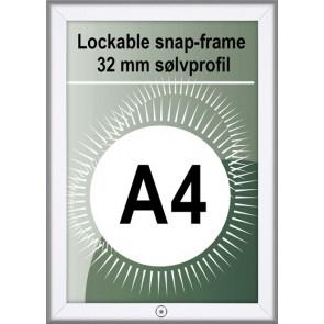 Klikramme Med Lås - 32mm Profil - (A4) 21x29.7cm - Alu