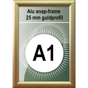 Klap Klap Billedramme - 25mm Profil - (A1) 59.4x84.1cm - Guld Mat