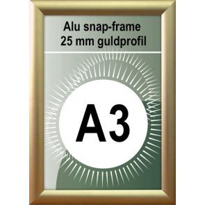 Klap Klap Billedramme - 25mm Profil - (A3) 29.7x42cm - Guld Mat