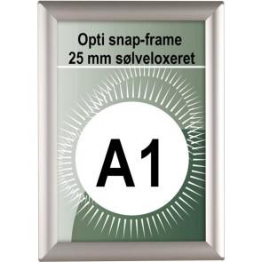 Opti Snapramme - 25mm Profil - (A1) - 59.4x84.1cm - Sølv