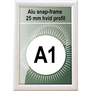 Snapramme - 25mm Profil - (A1) 59.4.x84.1cm - Hvid