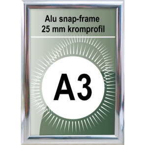 Snapramme - 25mm Profil - (A3) 29.7x42cm - Chrome