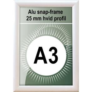 Snapramme - 25mm Profil - (A3) 29.7x42cm - Hvid