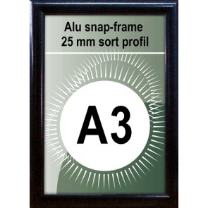Snapramme - 25mm Profil - (A3) 29.7x42cm - Sort