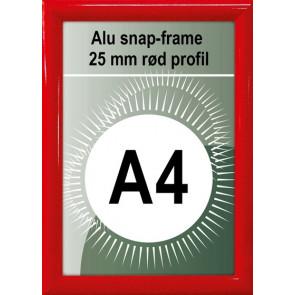 Snapramme - 25mm Profil - (A4) 21x29.7cm - Rød