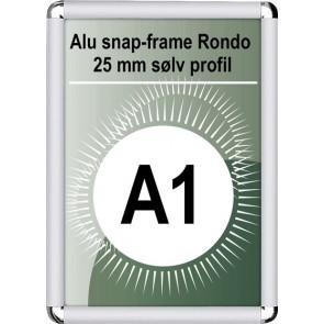 Snapramme Rondo - 25mm Profil - (A1) 59.4x84.1cm - Sølv