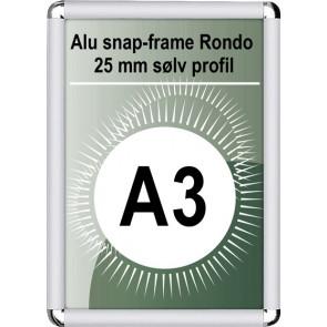 Snapramme Rondo - 25mm Profil - (A3) 29.7x42cm - Sølv