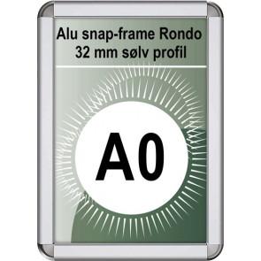 Snapramme Rondo - 32mm Profil - (A0) 84.1x118.9cm - Sølv
