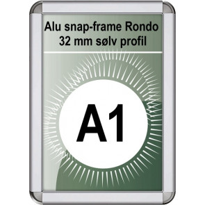 Snapramme Rondo - 32mm Profil - (A1) 59.4x84.1cm - Sølv