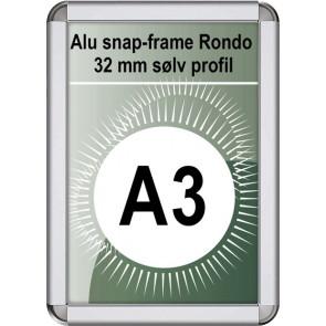 Snapramme Rondo - 32mm Profil - (A3) 29.7x42cm - Sølv
